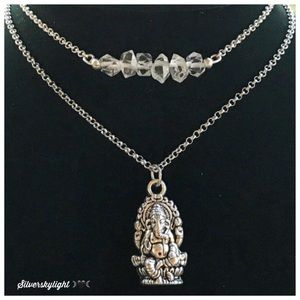 Two necklaces set herkimer diamonds & Ganesh charm